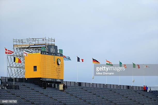 A general view of the stand and scoreboard during previews ahead of the 145th Open Championship at Royal Troon on July 11 2016 in Troon Scotland
