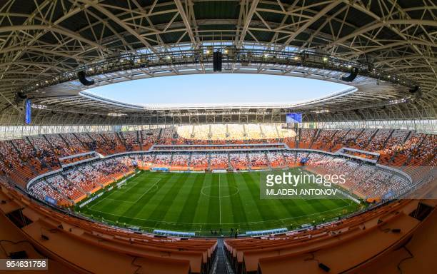 A general view of the stands and the pitch of Mordovia Arena in Saransk on May 4 2018 The 44000seater stadium will host four World Cup matches