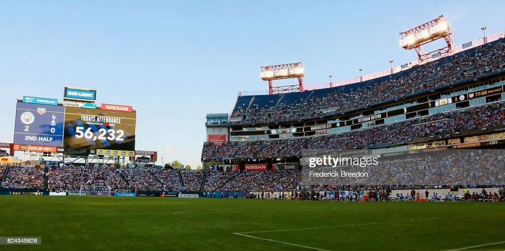 A general view of the stands as 56,232 fans break the record for the most attended Soccer game in the state of Tennessee during the second half of the 2017 International Champions Cup between Tottenham and Manchester City.