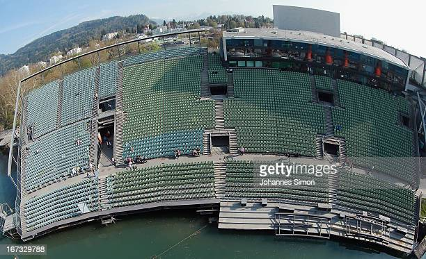 General view of the stands of the 'Seebuehne' during the roofing ceremony on April 24, 2013 in Bregenz, Austria. The premiere of the opera on the...
