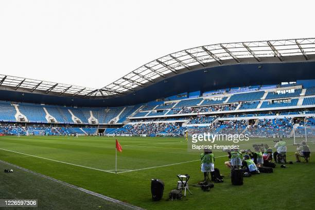 General view of the stands with the fans who are now allowed in the stadiums after the Covid-19 crisis before the friendly match between HAC Le Havre...