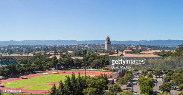 General view of the Stanford University campus including Hoover Tower as seen from Stanford Stadium prior to an NCAA college football game between...