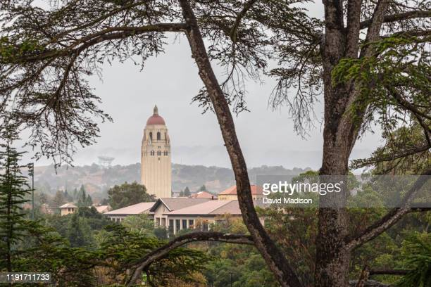 """General view of the Stanford University campus including Hoover Tower and the radio telescope known as """"The Dish"""" as seen from Stanford Stadium on..."""