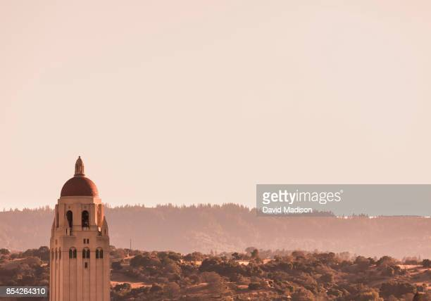 A general view of the Stanford University campus including Hoover Tower as seen from Stanford Stadium before an NCAA Pac12 football game between the...