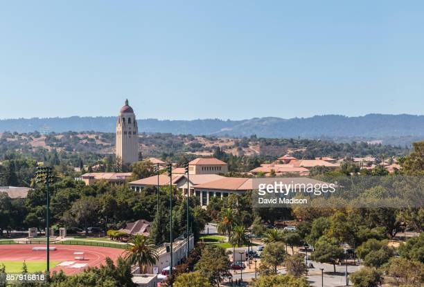 A general view of the Stanford University campus including Hoover Tower before a NCAA Pac12 football game between the Stanford Cardinal and the...