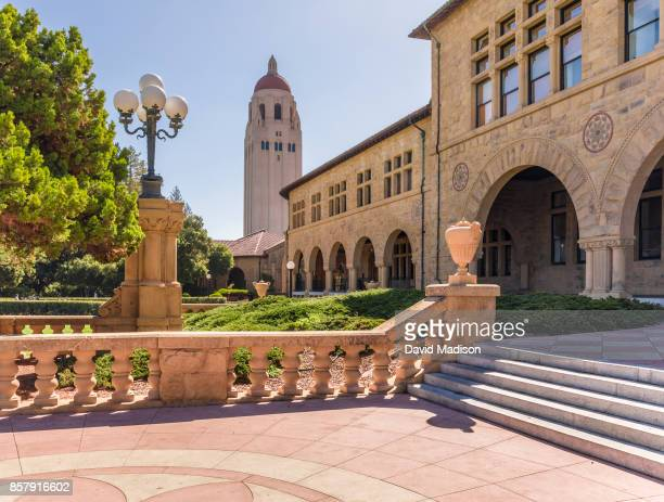 A general view of the Stanford University campus showing the arches of the Main Quadrangle buildings and Hoover Tower before a NCAA Pac12 football...