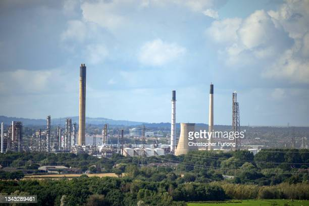 General view of the Stanlow Oil Refinery which is owned by Essar Energy on September 27, 2021 in Ellesmere Port, England. Essar Energy, which owns...