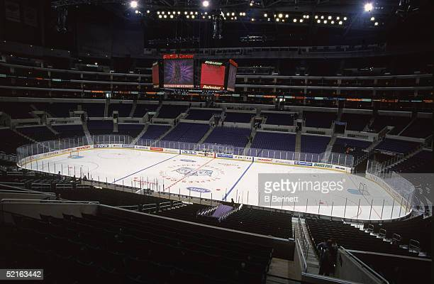 General view of the Staples Center entertainment and sports complex configured for ice hockey Los Angeles November 1999