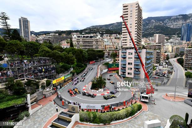 A general view of the start at the Fairmont Hairpin showing Nico Hulkenberg of Germany driving the Renault Sport Formula One Team RS19 and Romain...