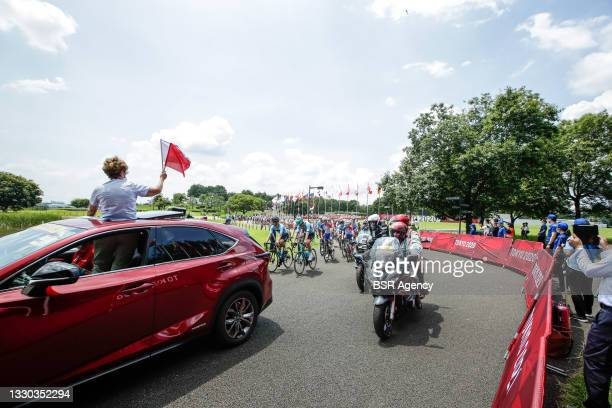 General view of the start competing on Men's Road Race during the Tokyo 2020 Olympic Games at the Fuji International Speedway on July 24, 2021 in...