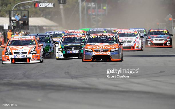 A general view of the start during race two of the Clipsal 500 which is round one of the V8 Supercar Championship Series on the Adelaide Street...