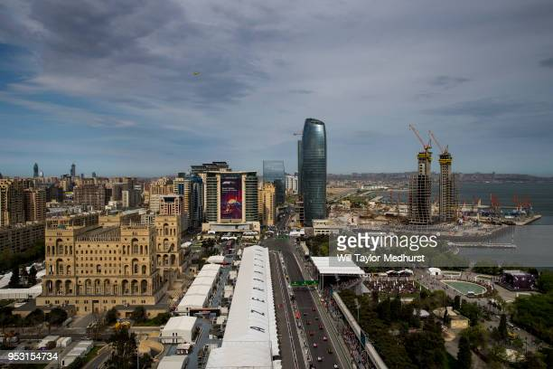 General view of the start during the Azerbaijan Formula One Grand Prix at Baku City Circuit on April 29, 2018 in Baku, Azerbaijan.