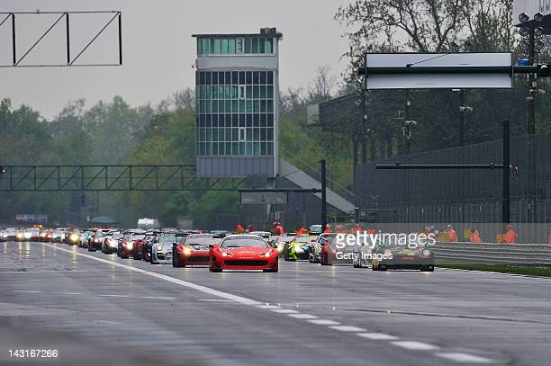 general view of the start during the Blancpain GT Endurance race at Autodromo di Monza on April 15 2012 in Monza Italy