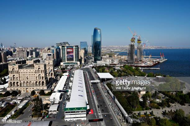 General view of the start during the F1 Grand Prix of Azerbaijan at Baku City Circuit on April 28, 2019 in Baku, Azerbaijan.