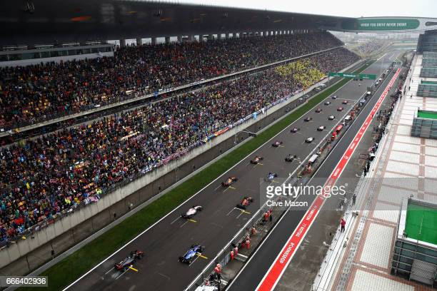 A general view of the start during the Formula One Grand Prix of China at Shanghai International Circuit on April 9 2017 in Shanghai China