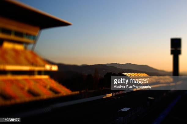 A general view of the start finish straight and the grand stand is seen during the Formula One testing at Circuit de Catalunya on March 01 2012 in...