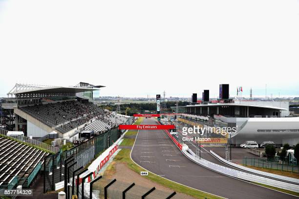 A general view of the start finish straight during previews ahead of the Formula One Grand Prix of Japan at Suzuka Circuit on October 5 2017 in Suzuka