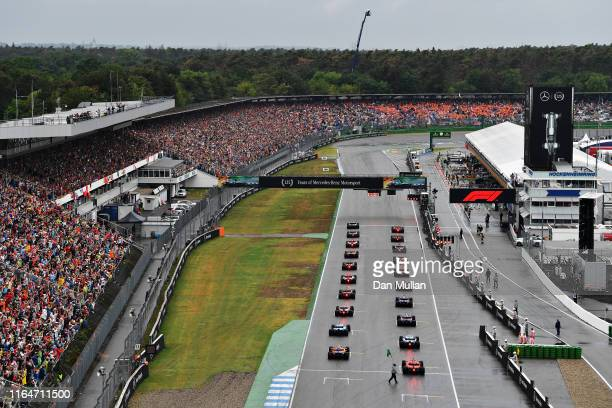 A general view of the start from behind during the F1 Grand Prix of Germany at Hockenheimring on July 28 2019 in Hockenheim Germany