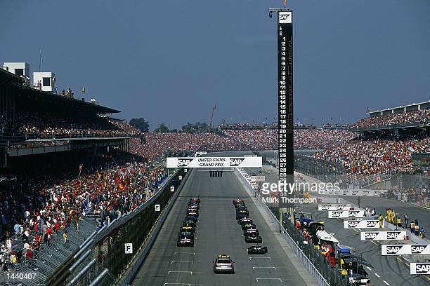 A general view of the start grid at the Indianapolis Speedway before the FIA Formula One Grand Prix at the Indianapolis Motorspeedway Indianapolis...
