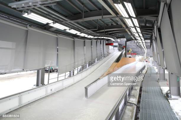 A general view of the start house at the newly opened Alpensia Sliding Centre on February 9 2017 in Pyeongchanggun South Korea