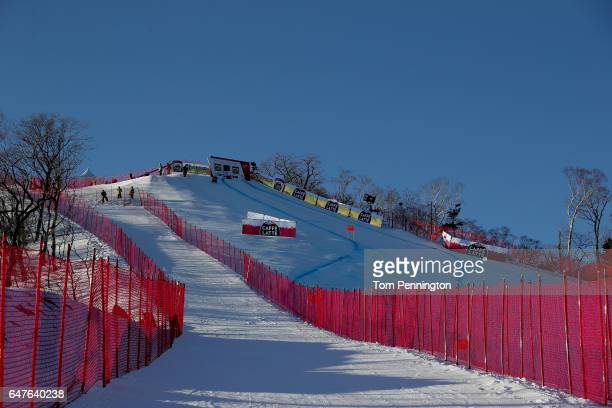 A general view of the start house for the Audi FIS Ski World Cup 2017 Ladies' Downhill at the Jeongseon Alpine Centre on March 4 2017 in Jeongseongun...