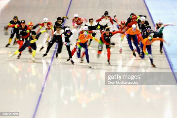 A general view of the start in the Division A Mass start Ladies race on day two of the Essent ISU World Cup Speed Skating at Thialf Ice Stadium on...