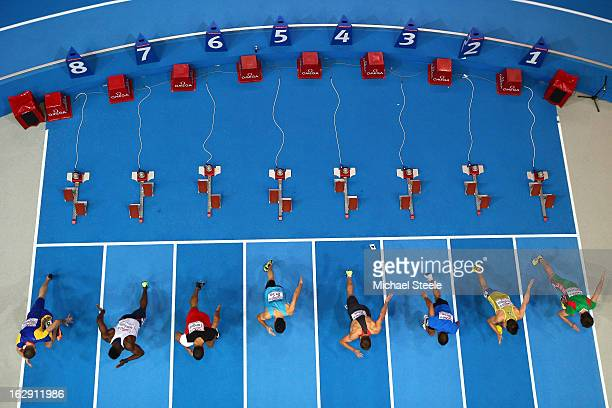 A general view of the start in the Men's 60m heats during day one of the European Athletics Indoor Championships at Scandinavium on March 1 2013 in...