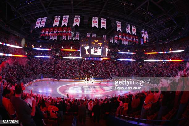 General view of the start of game five of the 2008 NHL Stanley Cup Playoffs Eastern Conference Quarter-Finals series between the Montreal Canadiens...