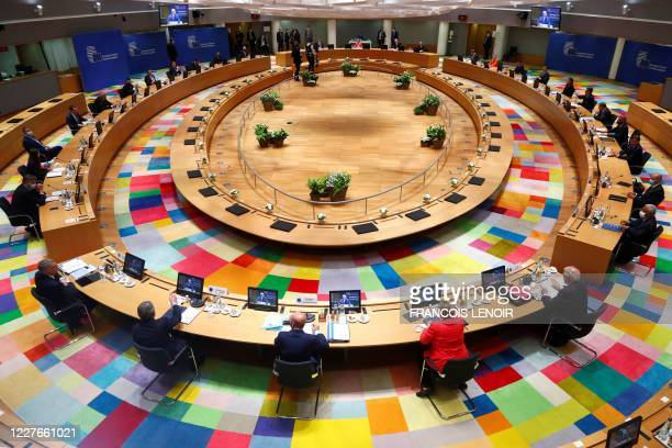 A general view of the start of the European Union Council in Brussels on July 17 as the leaders of the European Union hold their first facetoface...