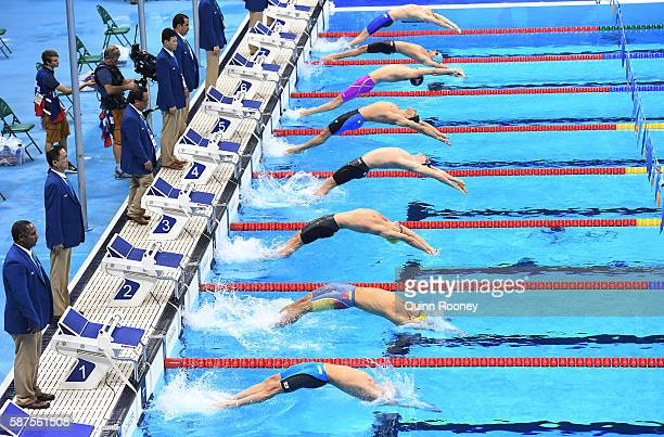 General view of the start of the Men's 100m Backstroke Final on Day 3 of the Rio 2016 Olympic Games at the Olympic Aquatics Stadium on August 8 2016...