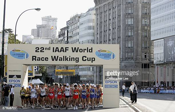 General view of the start of the Mens 20km race during the 22nd IAAF World Race Walking Championships on the Streets of La Coruna on May 13 2006 in...