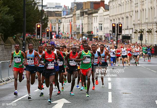 General view of the start of the Men's Half Marathon during the IAAF/Cardiff University World Half Marathon Championships on March 26, 2016 in...