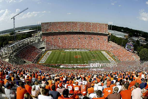 A general view of the start of the Miami Hurricanes against the Clemson Tigers game at Memorial Stadium on September 17 2005 in Clemson South Carolina