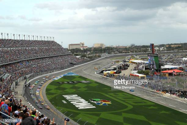 General view of the start of the NASCAR Cup Series 63rd Annual Daytona 500 at Daytona International Speedway on February 14, 2021 in Daytona Beach,...