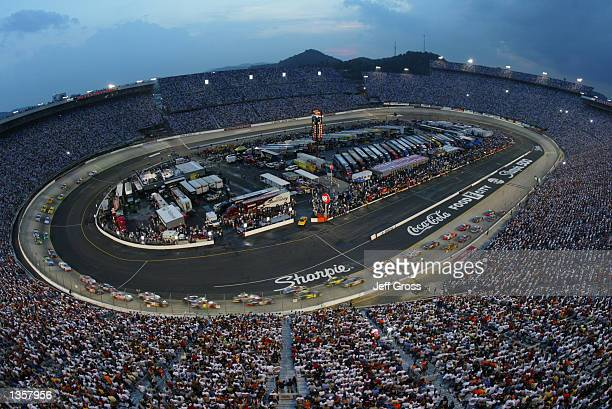 General view of the start of the NASCAR Winston Cup Series Sharpie 500 on August 24, 2002 at the Bristol Motor Speedway in Bristol, Tennessee.