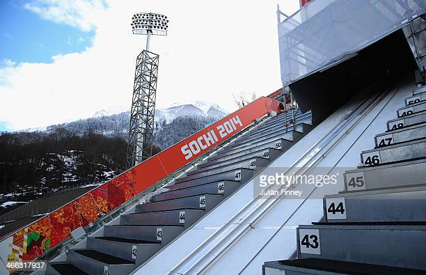 A general view of the start of the normal hill RusSki Gorki Ski Jumping venue ahead of the Sochi 2014 Winter Olympics on February 1 2014 in Rosa...