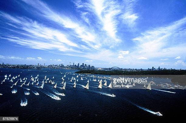 General view of the start of the Sydney to Hobart yacht race December 26 1998 in Sydney Australia