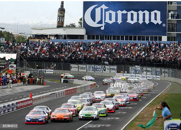 A general view of the start of the Telcel Mexico 200 Nascar Busch Series Race at the Autrodromo Hermanos Rodriguez Race Course March 6 2005 in Mexico...