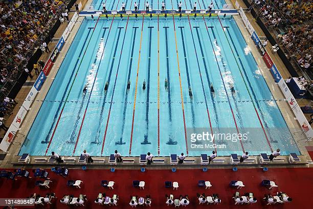 A general view of the start of the Women's 100m Backstroke final during day two of the 2011 FINA World Cup at Singapore Sports School on November 5...