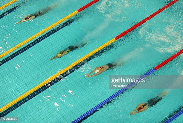 General view of the start of the Women's 50m Freestyle Heats at the National Aquatics Center on Day 7 of the Beijing 2008 Olympic Games on August 15,...