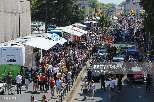 General view of the start village as riders prepare themselves for stage thirteen of the 2013 Tour de France, a 173KM road stage from Tours to...