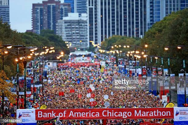 General view of the start/finish line of the 2018 Bank of America Chicago Marathon on October 7 2018 in Chicago Illinois