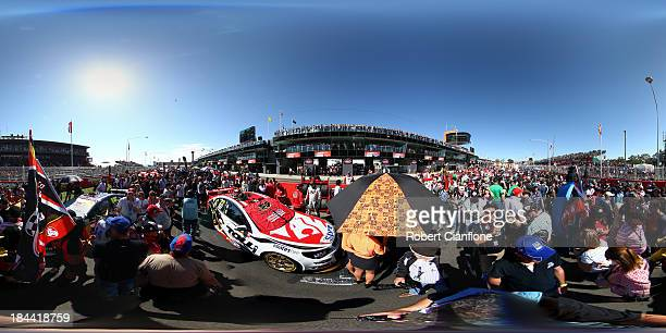 A general view of the starting grid before the Bathurst 1000 which is round 11 of the V8 Supercars Championship Series at Mount Panorama on October...