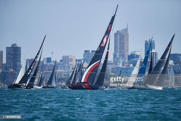A general view of the starting line during the 2019 Sydney to Hobart on December 26 2019 in Sydney Australia