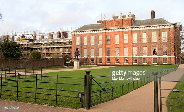 General view of the State Apartments of Kensington Palace and Apartment 1A which is covered in scaffolding whilst refurbishment works are being...