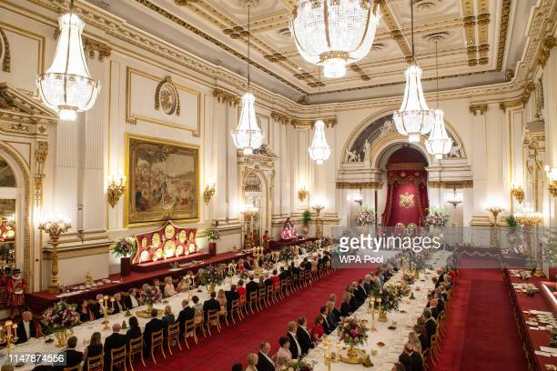 General view of the State Banquet for U.S. President Donald Trump and First Lady Melania Trump at Buckingham Palace on June 3, 2019 in London,...