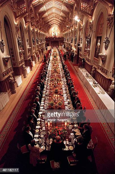General view of the State Banquet in St George's Hall in honour of the German President's visit to Windsor Castle on December 011998 in Windsor...