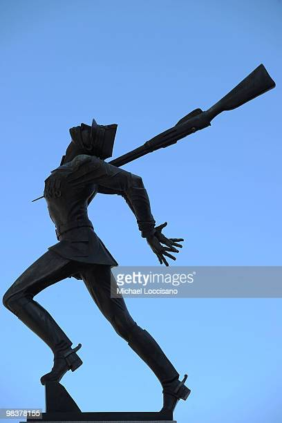 General view of the statue atop the Katyn Memorial on April 10 2010 in Jersey City New Jersey Early Saturday morning Polish President Lech Kaczynski...