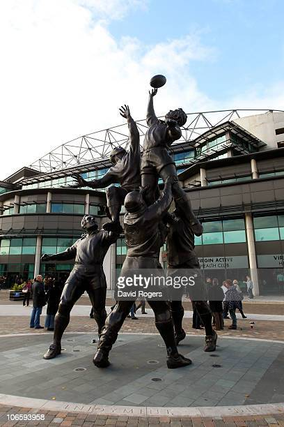 A general view of the statue erected outside of the South Stand prior to the Investec Challenge match between England and New Zealand at Twickenham...