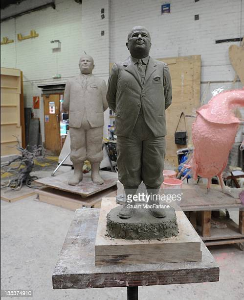 A general view of the statue of former Arsenal manager Herbert Chapman under construction which will be one of three iconic statues to be placed at...